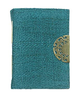 Marina Vaptzarov Hemp Cover Journal with Hand-Carved Brass Clasp, Teal