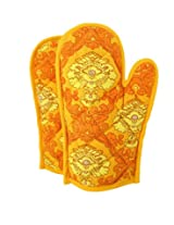 ShalinIndia Cotton Oven Mitts Printed Set of 2 Quilted Cooking Gloves,OG02-1451,Orange,8 x12 Inch