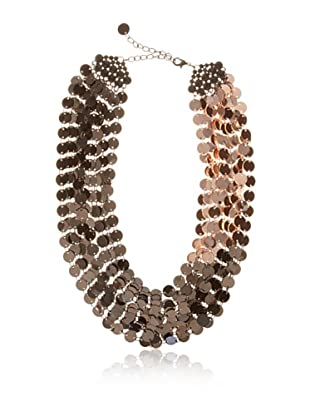 Chloe & Theodora Gunmetal and Rose Gold-Tone Shimmer Disc Necklace with Cubic Zirconias