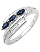 0.40CTW Genuine Blue Sapphire .925 Sterling Silver Ring