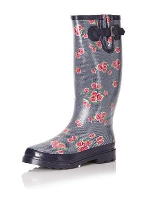 Chooka Women's Dotty Flowers Knee-High Rain Boot (Navy)