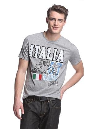 Kappa Men's Italia Felt Applique Mondo Tee (Grey Heather)