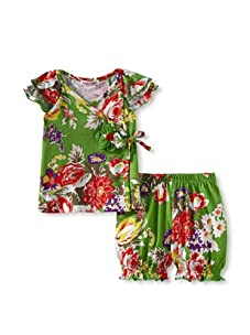 Baby Nay Knit Kimono Set with Ruffle Sleeves (Emerald Rose)