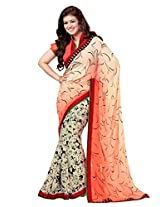 Beige Brown Georgette Party Saree with Unsitched Blouse 15905