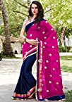 Magenta and Blue Gerogette Half N Half Saree