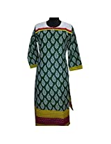 Reednpick Ladies Kurti Printed Batik Green