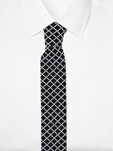Ivy Prepster Men's Madison Grid Knit Tie (Black/Ivory/Sky)