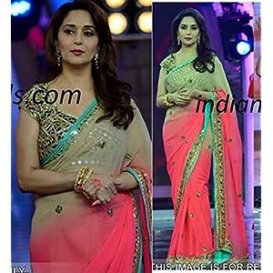 Ninecolours Madhuri Dixit Designer Saree - Pink