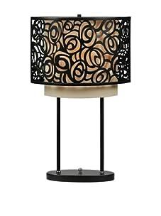 Floral Laser-Cut Table Lamp, Black/Beige