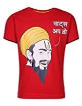 Ollypop T-Shirt Half Sleeves With Whats Up Bro Print In Hindi - Red