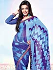 Blue Faux Georgette Lehariya Print Saree: