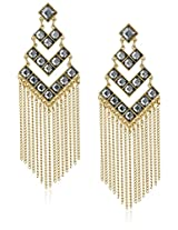"""Jules Smith """"Dynasty"""" Gold and Black Crystal Chandelier Earrings"""