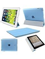 Elite Ultra Thin Smart Flip Foldable Flip Case cover for Apple iPad 2, 3 & 4 Tablet with stylus (Sleep/Wakeup) (Sky Blue)