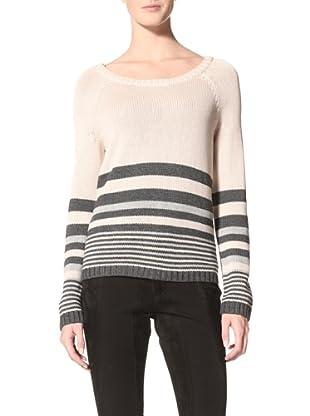 Suss Knitwear Women's Ana Striped Boxy Boatneck (Dark Charcoal)