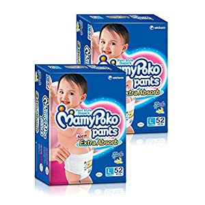 Mamy Poko  Large Size Diapers (2 Packs, 52 Count per Pack)