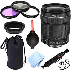 Canon EF-S 18-135mm F/3.5-5.6 IS STM Standard Zoom Lens for Canon EOS 60D 7D 70D EOS Rebel SL1 T1i T2i T3 T3i T4i T5i XS XSi XT & XTi Digital SLR Cameras + Celltime 10pc Bundle Deluxe Accessory Kit