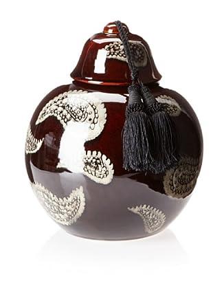 Barclay Butera Marrakesh Paisley Ceramic Jar with Tassel (Red)