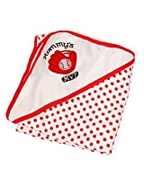 Baby Hooded Cotton Wrapper/Bath Towel/ Blankets/Red Dot Print (80 x 90 CM_ Red)