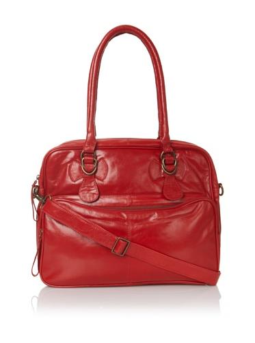 Latico Women's Fay Top-Zip Convertible Briefcase (Red)