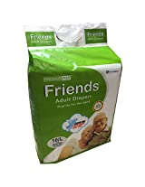 Friends Adult Diapers Premium PLUS+ 10's LARGE, Waist Size 38 to 60 inches
