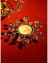 Gold & Silver Leaves Tea Light Candle Holder