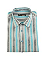 BLOG Men's Poly Cotton Light blue & White Half Sleeve Formal Shirt
