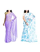 MemSahiba Women Semi-Chiffon Saree set of 2 (MS-1047-1092)