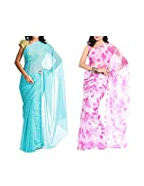 MemSahiba Women Semi-Chiffon Saree set of 2 (MS-1045-1091)