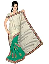 Chinco Embroidered Saree With Blouse Piece (509-D_Dark Green & Beige)