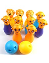 Animal Bowling Set with 10 Animal Bowling Pins & 2 Bowling Balls for Kids Ages 3+ Years (Assorted Colors)