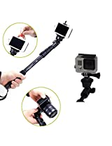 DMG Extendable handheld YunTeng YT-188 Selfie Sticks Monopod Camera Go Pro Support with Bluetooth Shutter Remote and Hand Strap (BLACK)