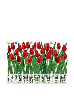 Ambiance Live Wandtattoo Tulips fence mehrfarbig