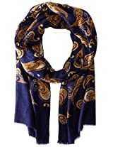 Saro Lifestyle Women's Paisley Design Scarf, Navy Blue, One Size