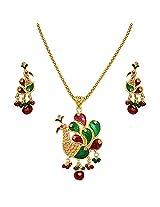 Surat Diamonds Peacock Shaped Necklace & Earring Imitation Set for Women (PS44)