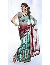 Blue Embroidered Lehenga Saree