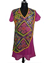 Ads Womens Georgette Pink Small Kurta