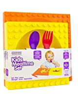 Placematix Kids Mealtime Set - Eat, Play, and Learn - Innovative and Reliable Design - Safe and Non-Toxic - Microwave and Dishwasher Safe - Includes Yellow Bowl, Purple Spoon, Red Fork, and Orange Plate