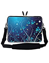 "Meffort Inc 15 15.6 Inch Blue Swirl Design Laptop Sleeve Bag Carrying Case With Hidden Handle & Adjustable Shoulder Strap For 14"" 15"" 15.6"" Apple Macbook, Acer, Asus, Dell, Hp, Sony, Toshiba, And More"