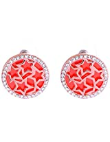 Smart Deal Jewellers Gold-Plated Stud Earring For Women (Red )