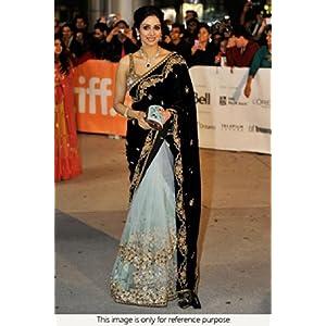 Ninecolours Sri Devi Net and Velvet Saree - Black & White