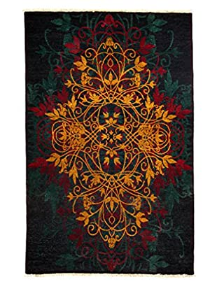Solo Rugs Suzani Hand-Knotted Rug, Black/Mustard, 4' 10 x 7' 5