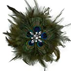 Mayuri Peacock Feather Flower Brooch/Hair Clip Accessory Multiple Colors