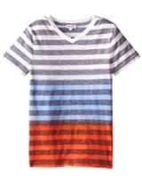 Splendid Little Boys' Classic Stripe V-Neck Shirt, Light Blue, 4-5