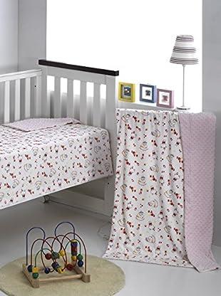 Mantas Mora Manta Infantil Microfibra Colorines (Rosa)