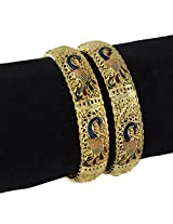 R18Jewels Fashion and U Sparkling Peacock Yellow Gold Plated Metal Enamel (2pc) Bangle Set for Women (2.40 IN)