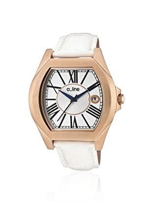 a_line Women's 80008-RG-02-WH Adore White/Rose Gold-Tone Leather Watch