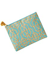Mud Pie Womens Fashion Spring Summer Shimmer Juco Carry All Case (Aqua Lattice)