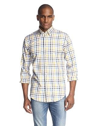 Maker & Company Men's Long Sleeve Sport Shirt with Pocket (Brown)