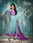 Sky Blue Chrochet Net Salwar Suit