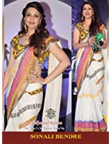 Sonali Bendre Crepe Embroidered White Bollywood Style Saree